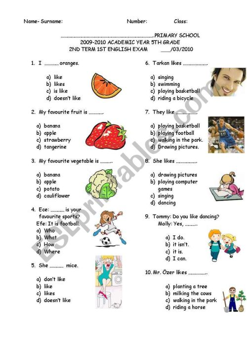 small resolution of 5TH GRADE SECOND TERM FIRST EXAM - ESL worksheet by sevim-6