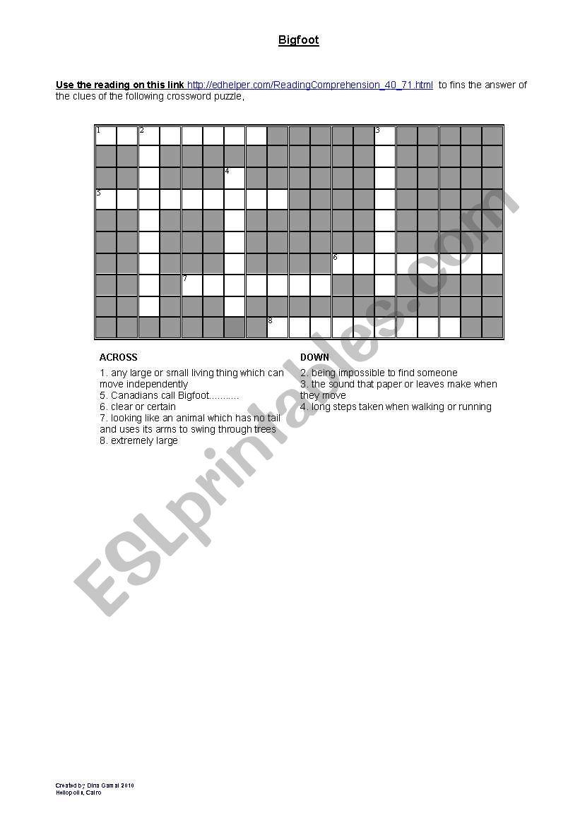 English worksheets: Bigfoot crossword