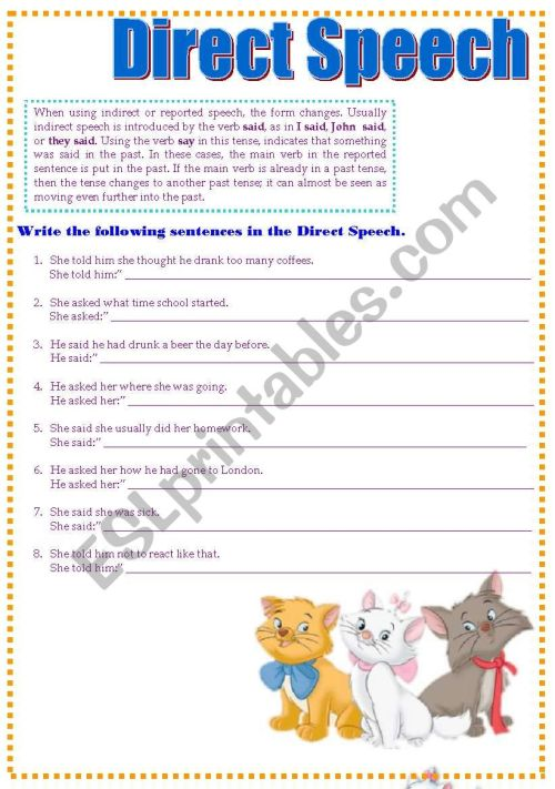 small resolution of Direct Speech - ESL worksheet by CandyB