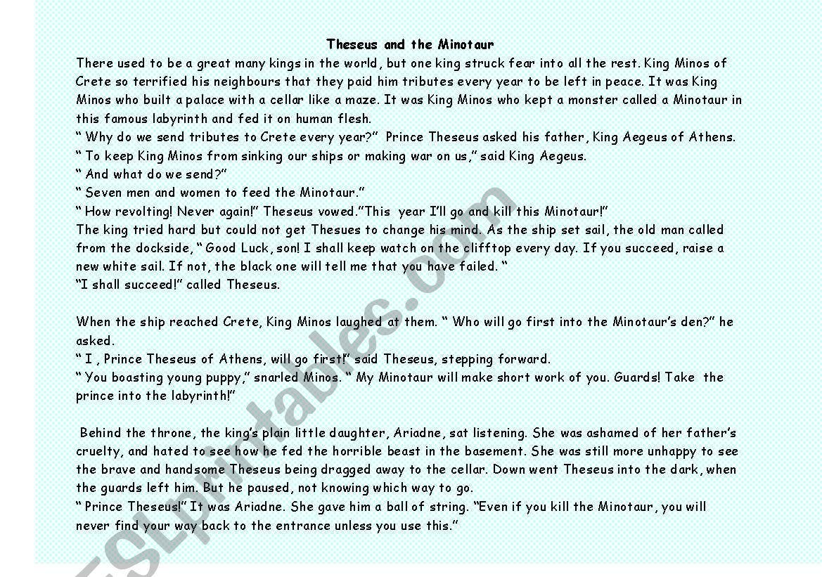 Greek Myth Reading Comprehension