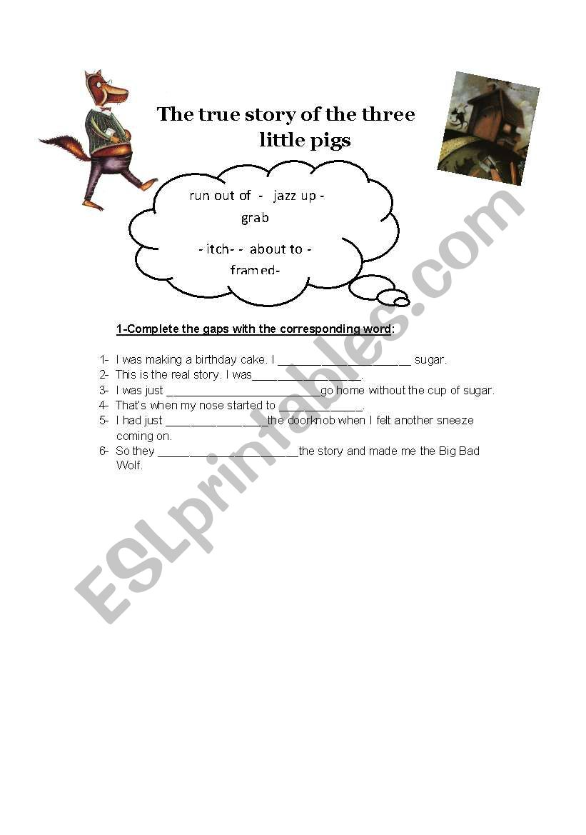 English worksheets: The true story of the three little pigs