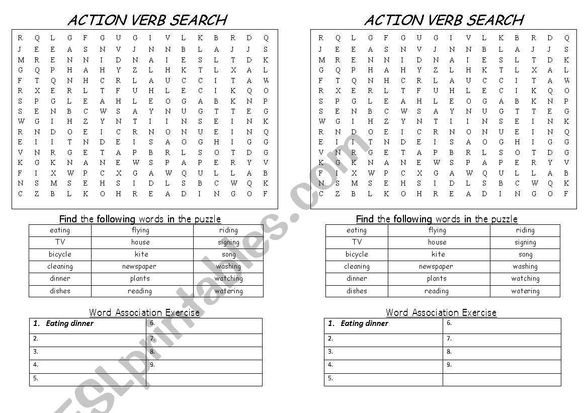 Worksheet Works Action Verbs