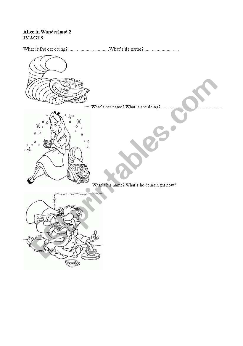 English worksheets: Alice in Wonderland (part 2)