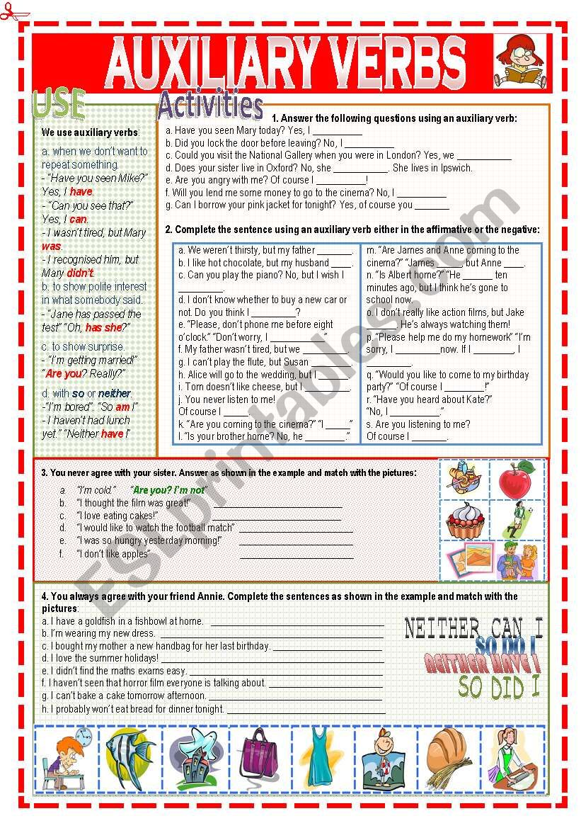 hight resolution of Auxiliary verbs - ESL worksheet by Nuria08