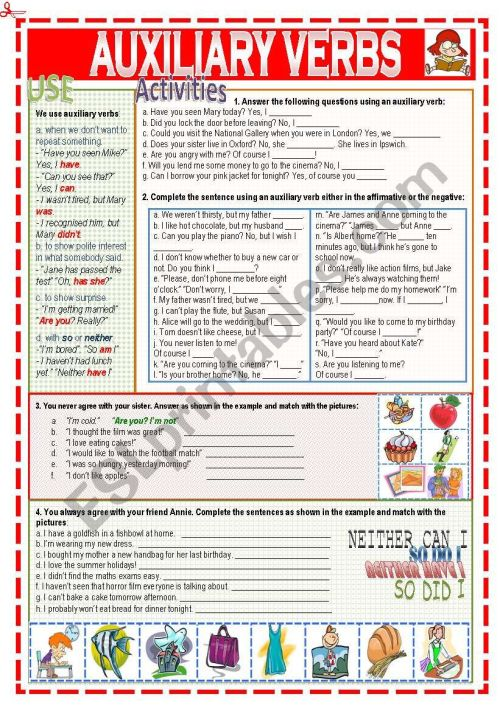 small resolution of Auxiliary verbs - ESL worksheet by Nuria08