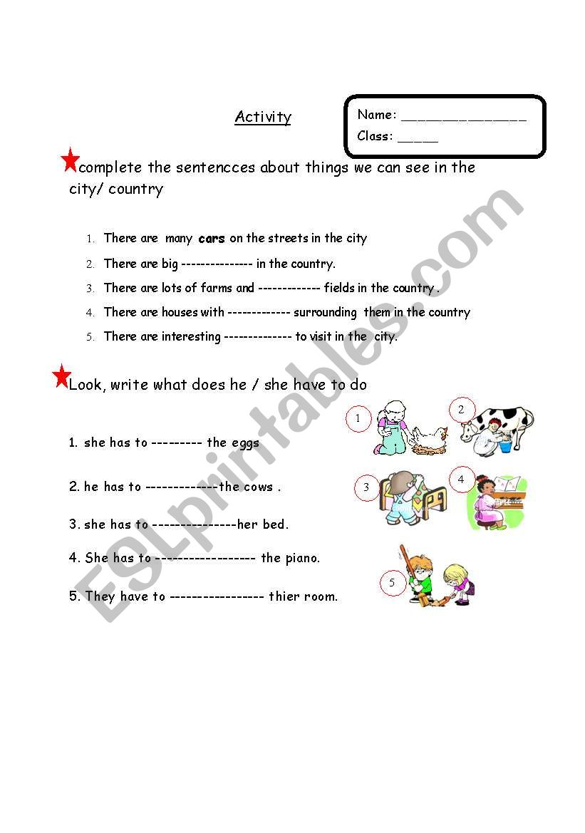 hight resolution of a worksheet about activities related to city or country life