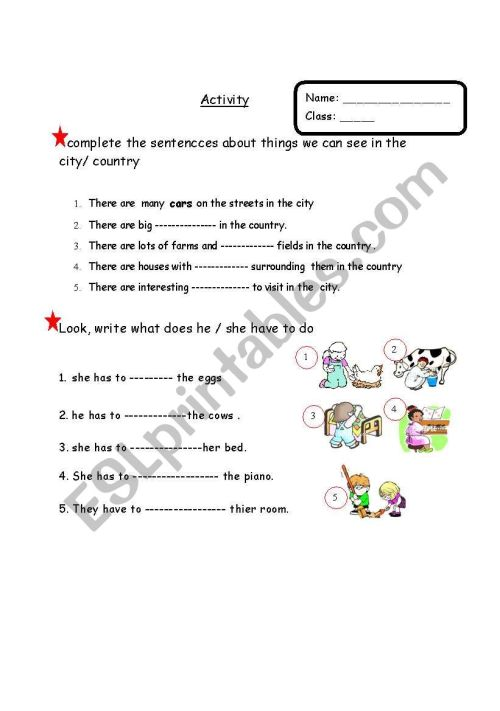 small resolution of a worksheet about activities related to city or country life