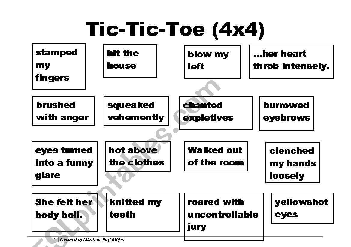 Learning Phrases About Anger Through Tic Tic Toe