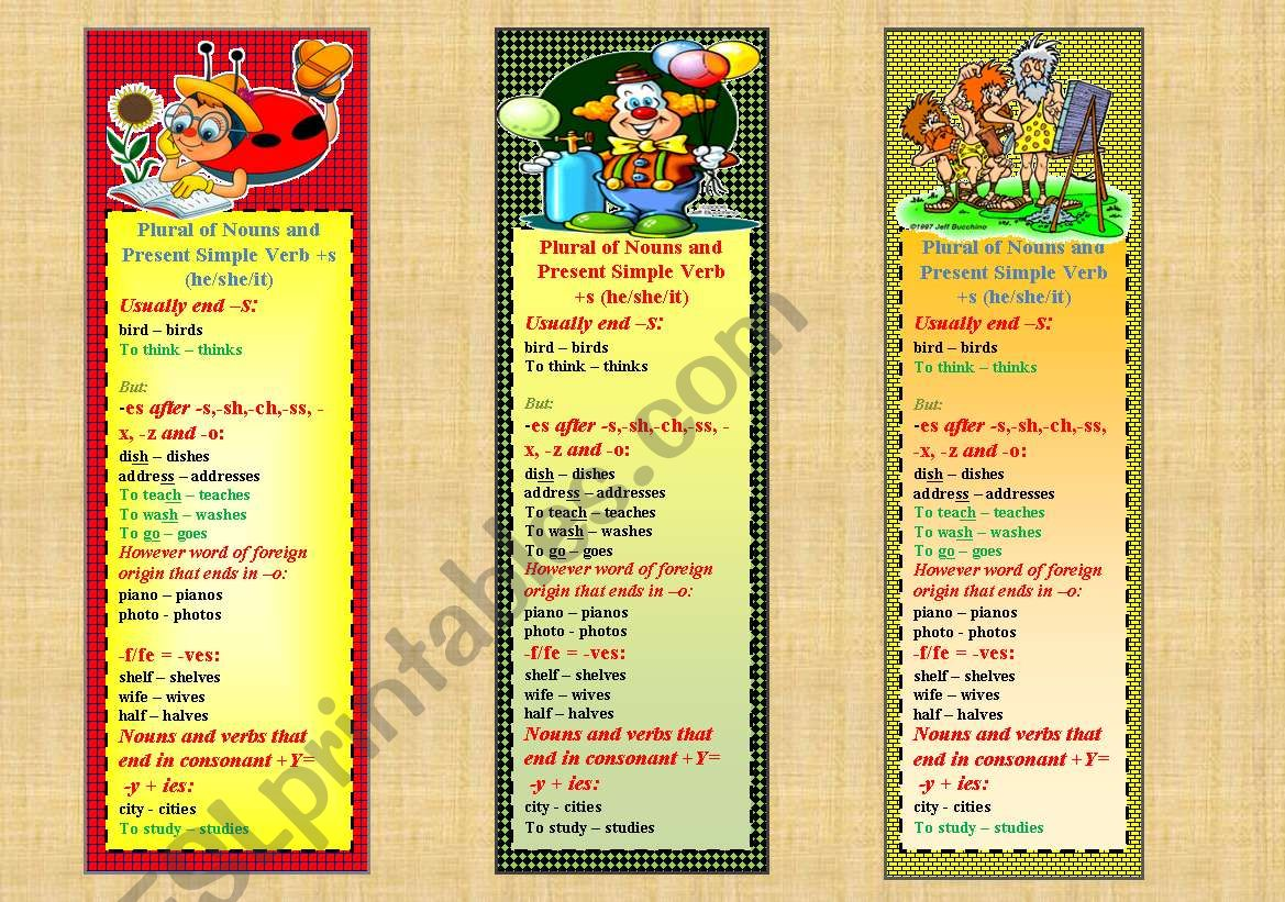English Worksheets Bookmarks With Plurals