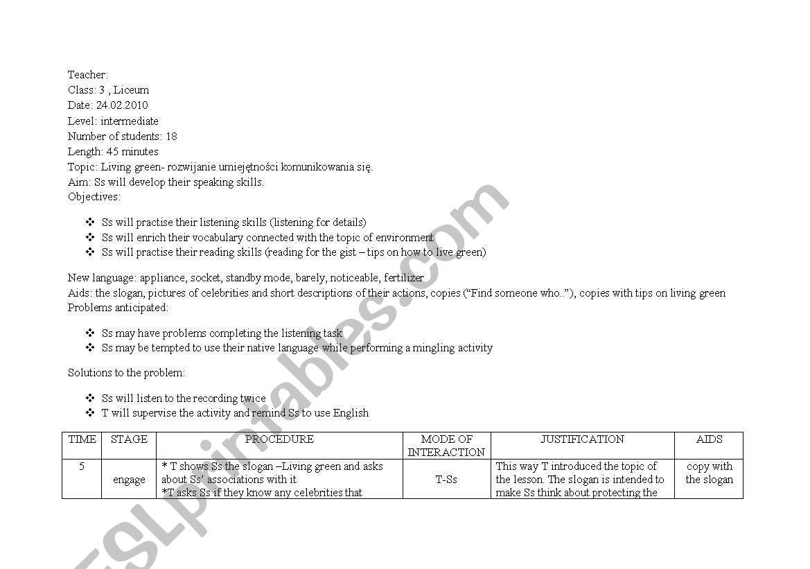 English Worksheets Lesson Plan Living Green