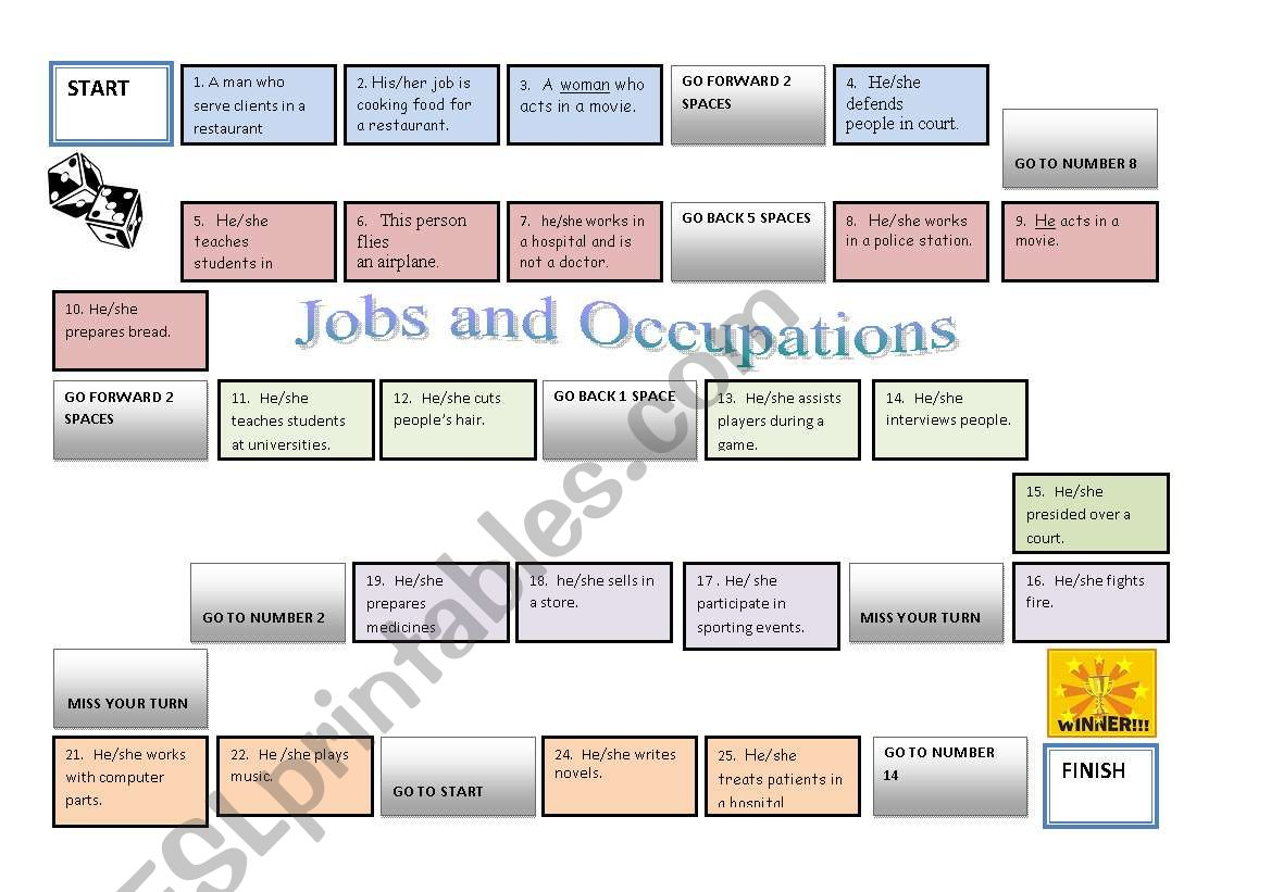 Jobs And Occupations Gameboard