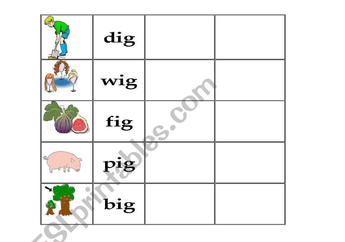 English Worksheets Ig Family Words Worksheet