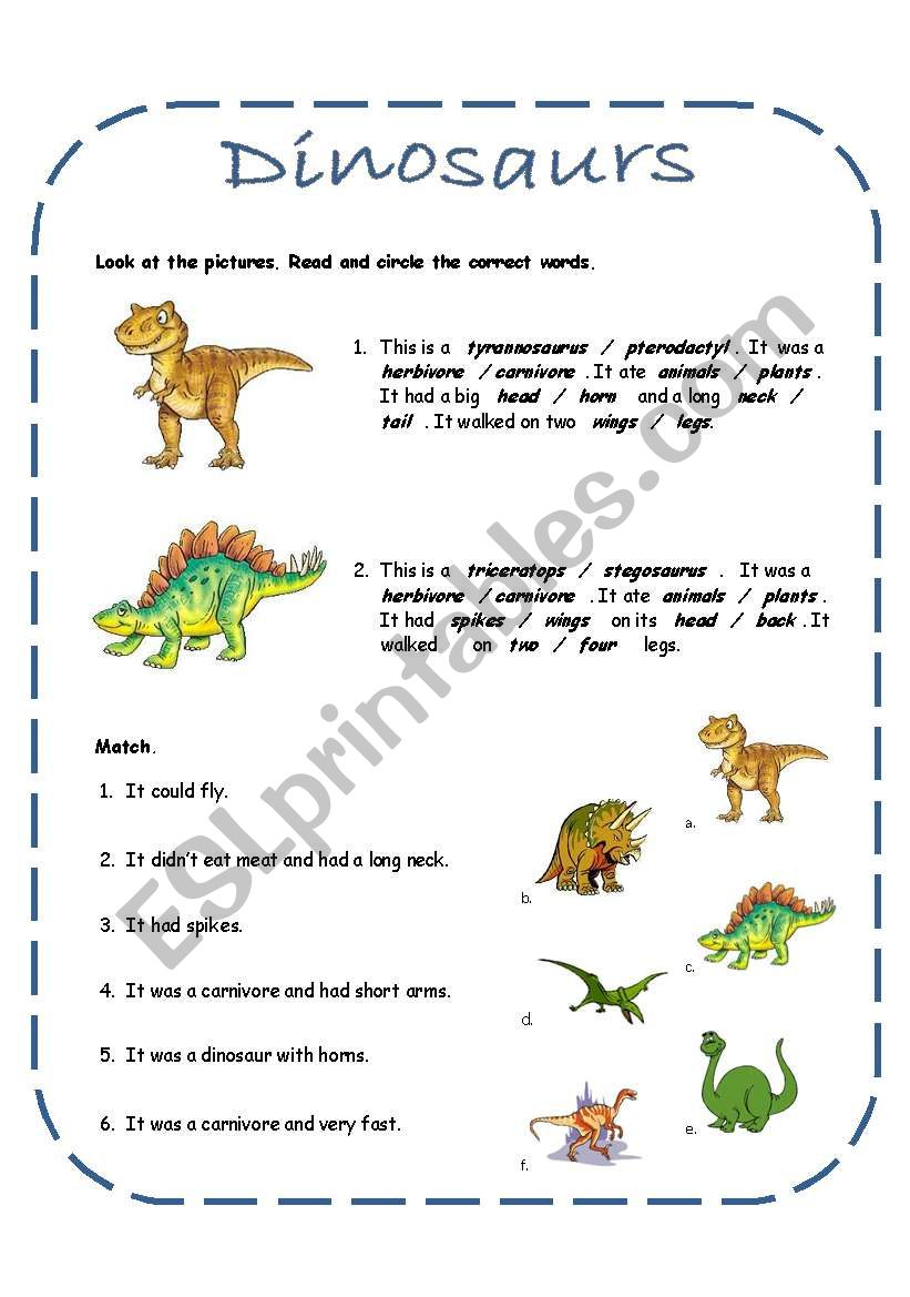 medium resolution of Dinosaurs activities including a song (4 pages + answer key) - ESL worksheet  by rakelsg