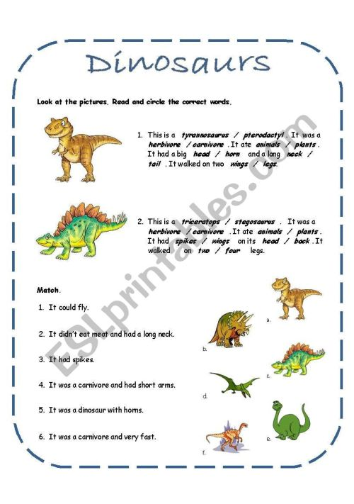 small resolution of Dinosaurs activities including a song (4 pages + answer key) - ESL worksheet  by rakelsg