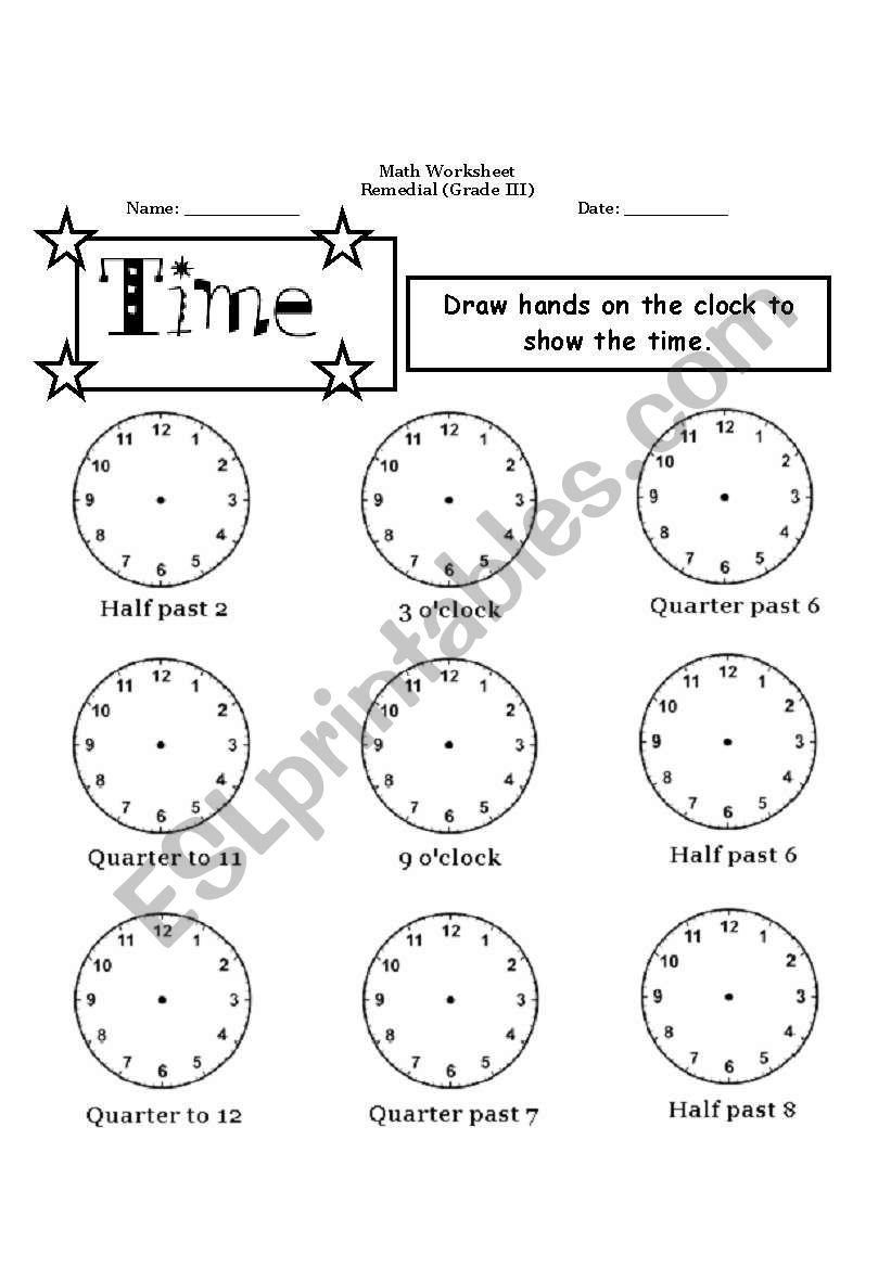 English worksheets: math remedial