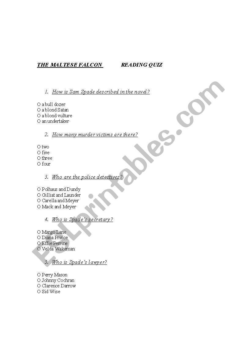 English worksheets: THE MALTESE FALCON READING QUIZ