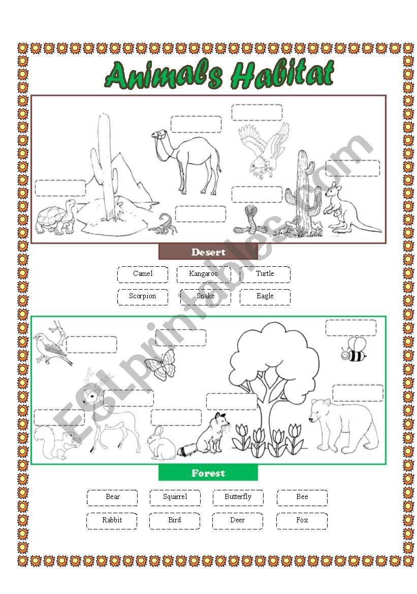 medium resolution of Animals Habitat (desert - forest) - Cut and paste part 2 - ESL worksheet by  lupiscasu