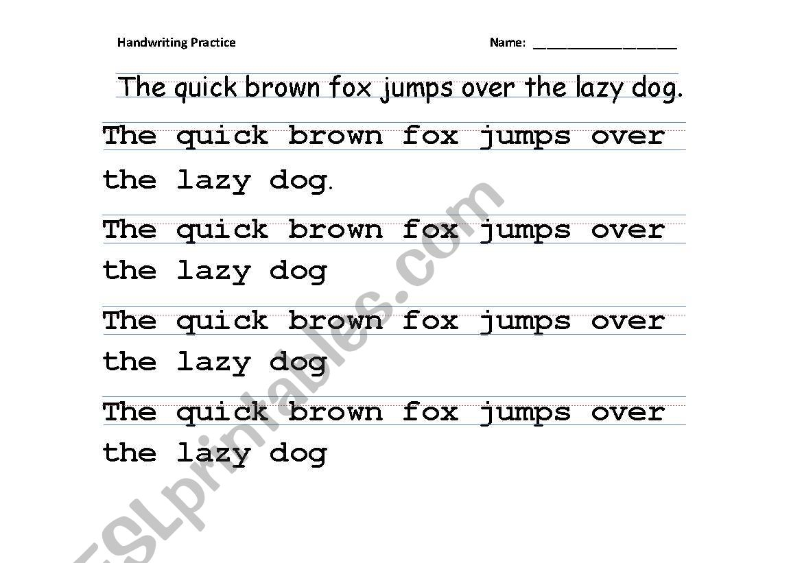 English Worksheets Handwriting Practice Tracing All
