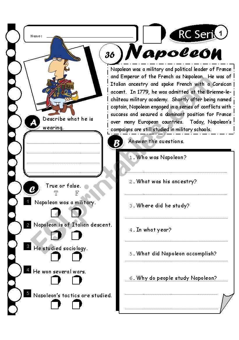 RC Series Level 1_36 Napoleon (Fully Editable + Answer Key