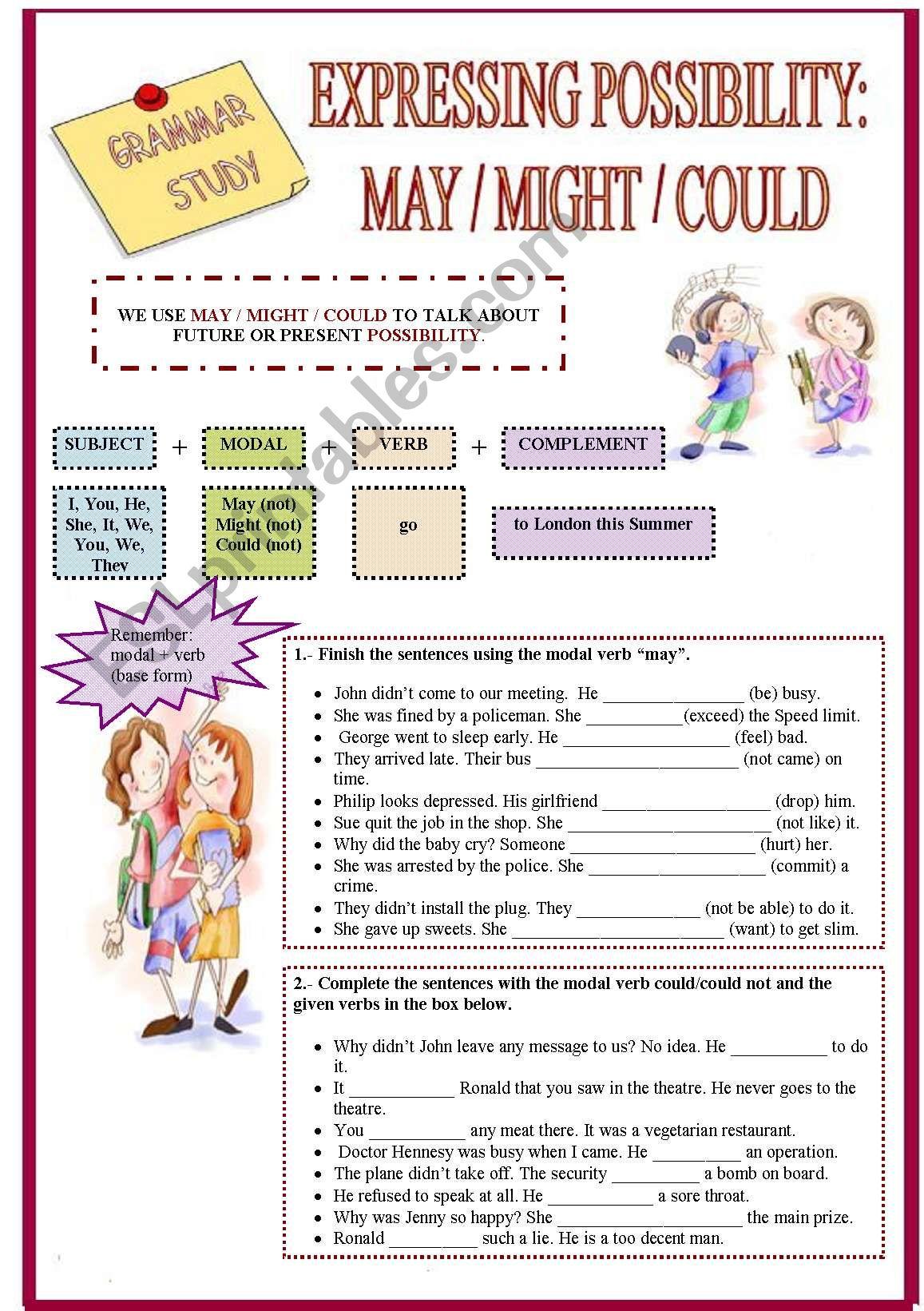 Can Vs May Worksheet