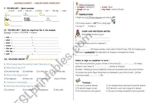 small resolution of French Weather Worksheet   Printable Worksheets and Activities for  Teachers
