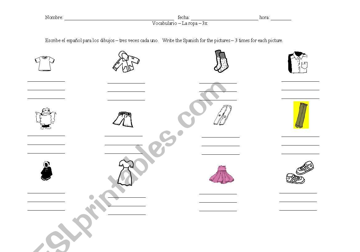 English Worksheets Articles Of Clothing 3x Each Assignment