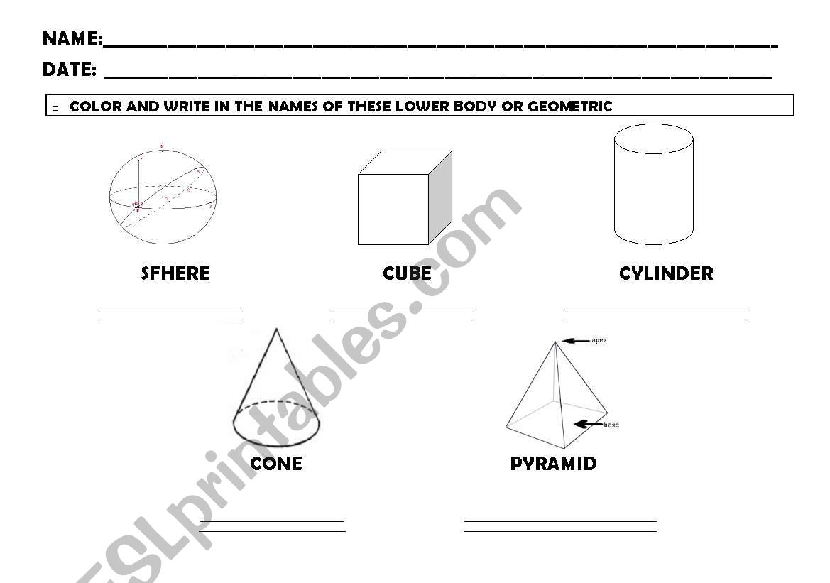 English Worksheets Solid Figures