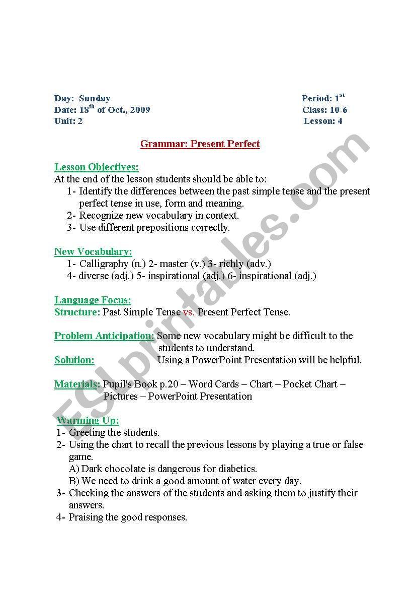 medium resolution of English worksheets: present perfect