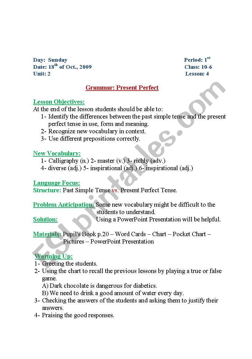 hight resolution of English worksheets: present perfect