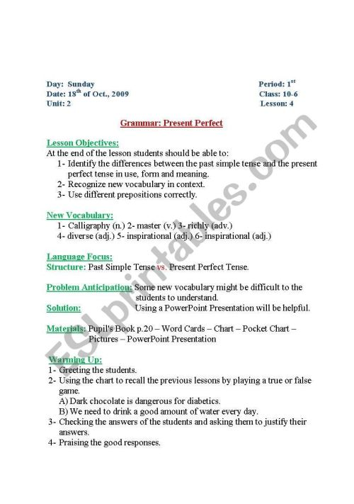 small resolution of English worksheets: present perfect