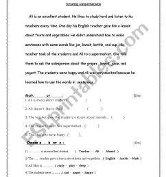 exam grade 4 - ESL worksheet by saeed alameri [ 1169 x 821 Pixel ]