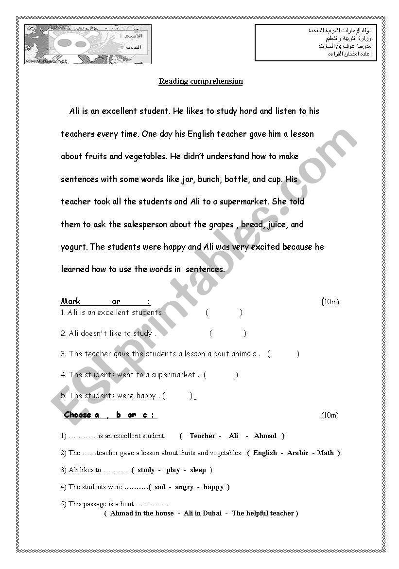hight resolution of exam grade 4 - ESL worksheet by saeed alameri