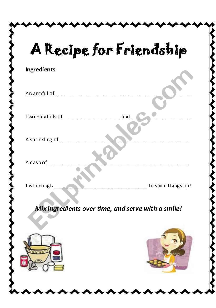 English worksheets: A recipe for friendship