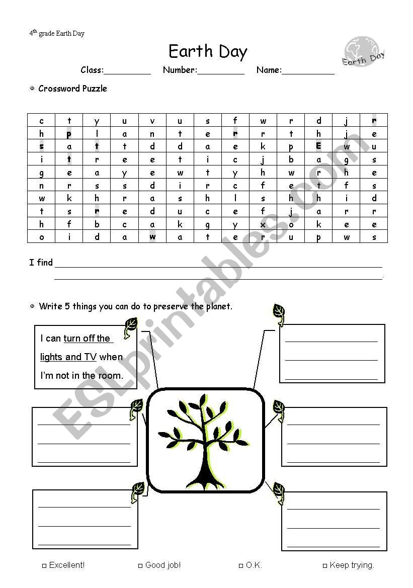 hight resolution of Earth Day - ESL worksheet by heyihua