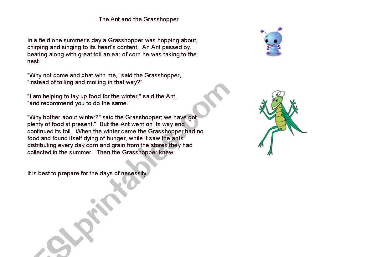 English Worksheets Fable The Ant And The Grasshopper
