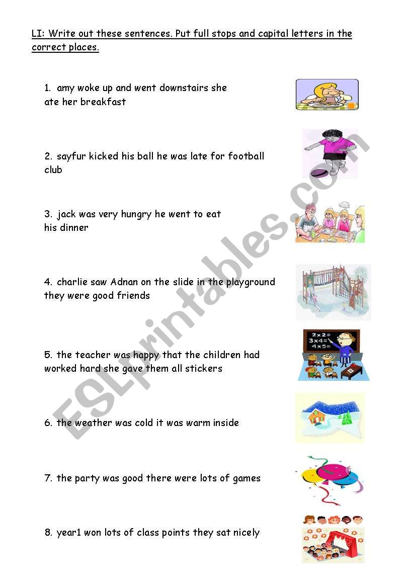 hight resolution of capital letters and full stops - ESL worksheet by carrieday18