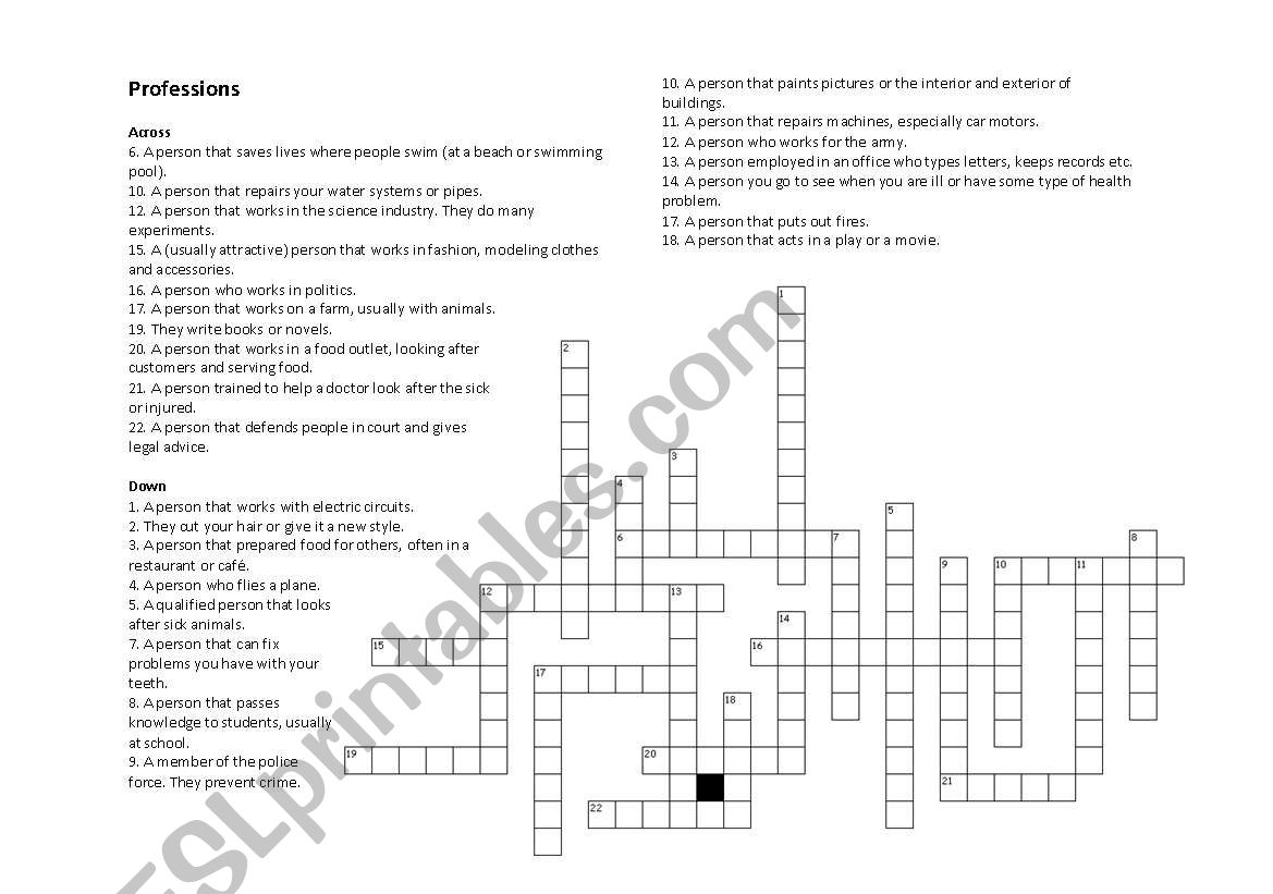 English Worksheets Proffession Crossword Puzzle