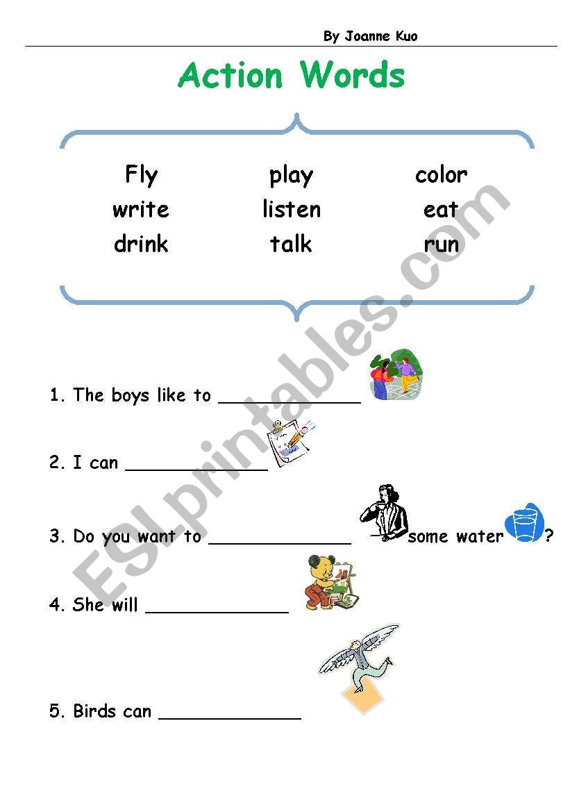 hight resolution of English worksheets: action words