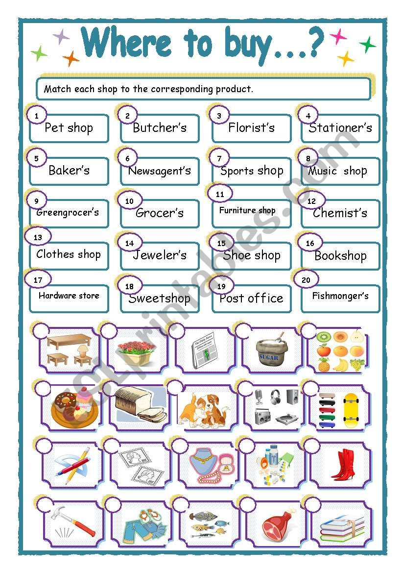 WHERE TO BUY  ESL worksheet by Ticas