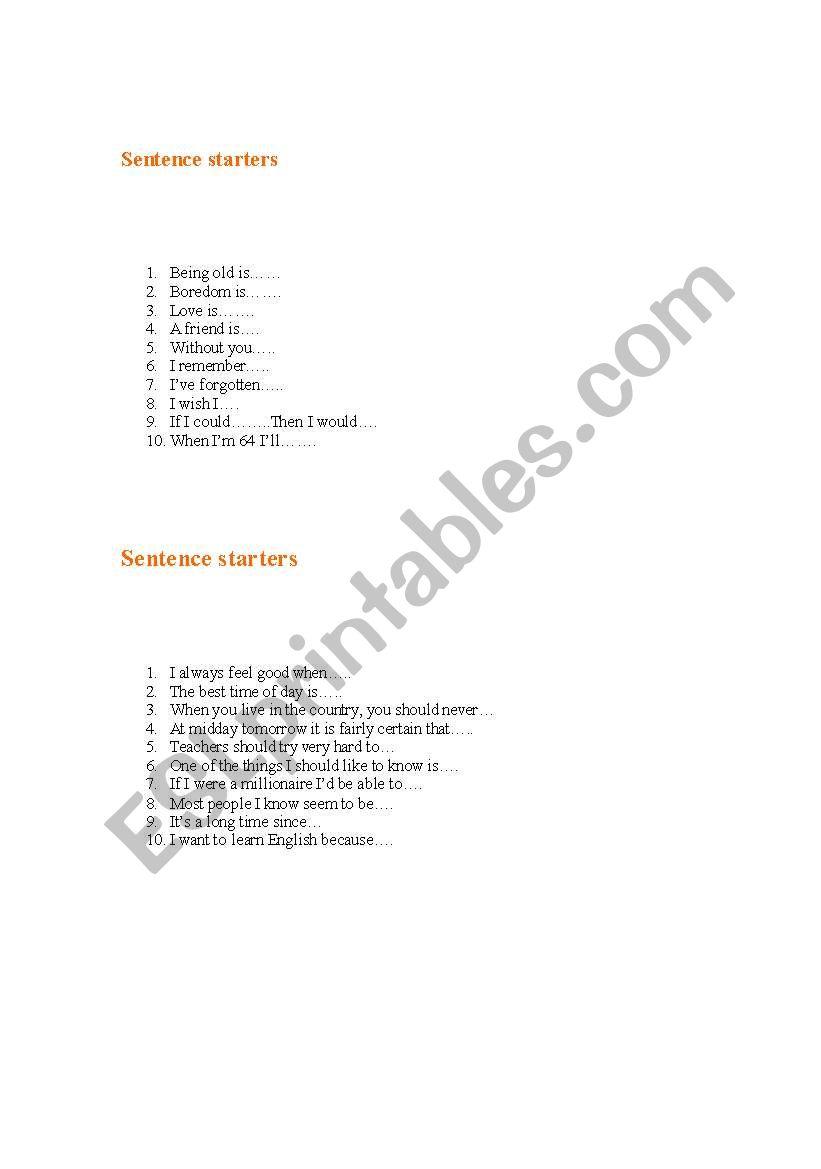 English worksheets: Sentence starters