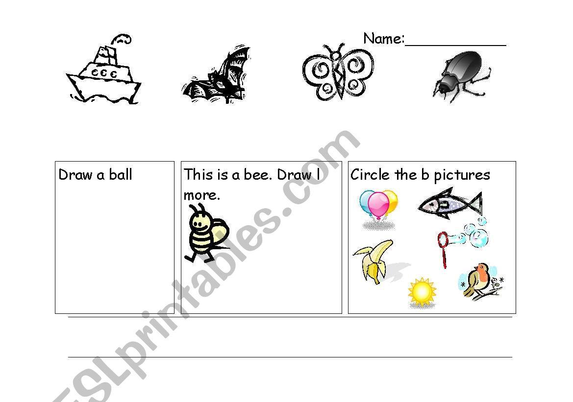 English Worksheets Letter B Revision Sheet