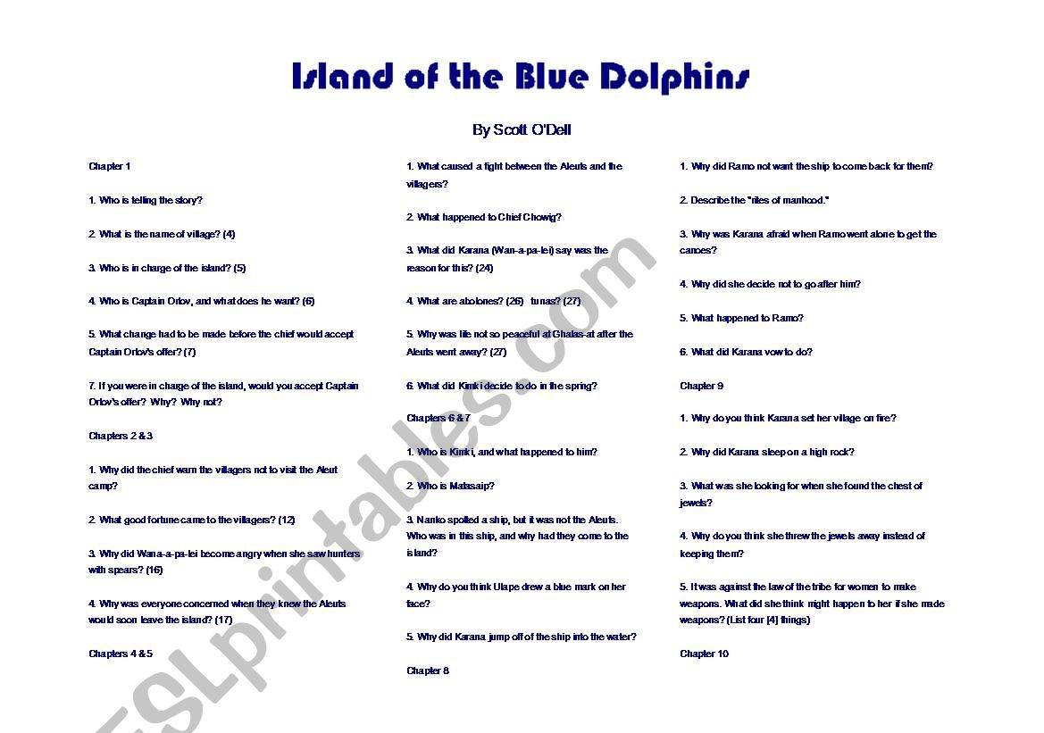 English Worksheets Island Of The Blue Dolphins