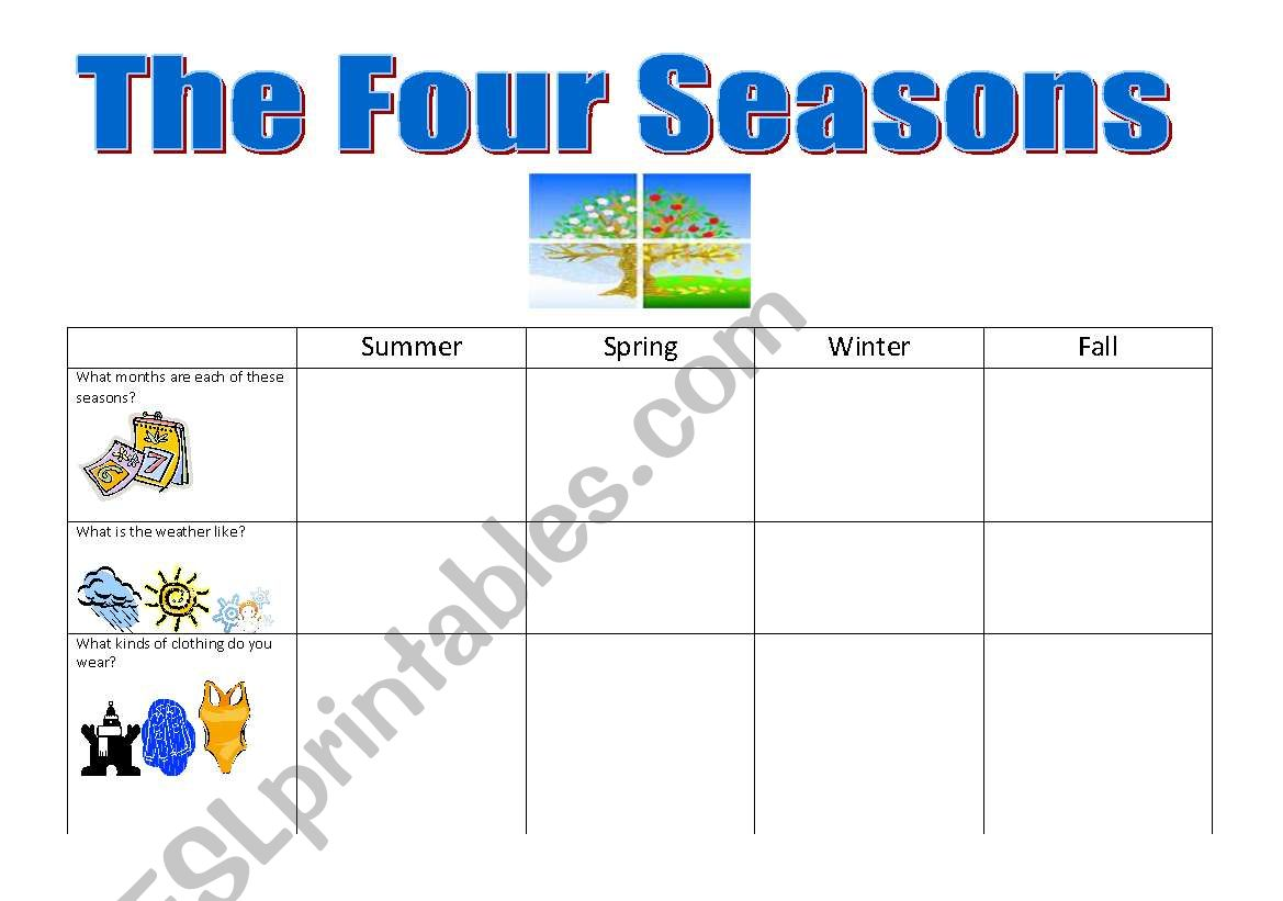English Worksheets The Four Seasons