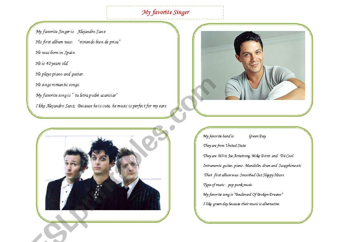 English Worksheets My Favourite Singer
