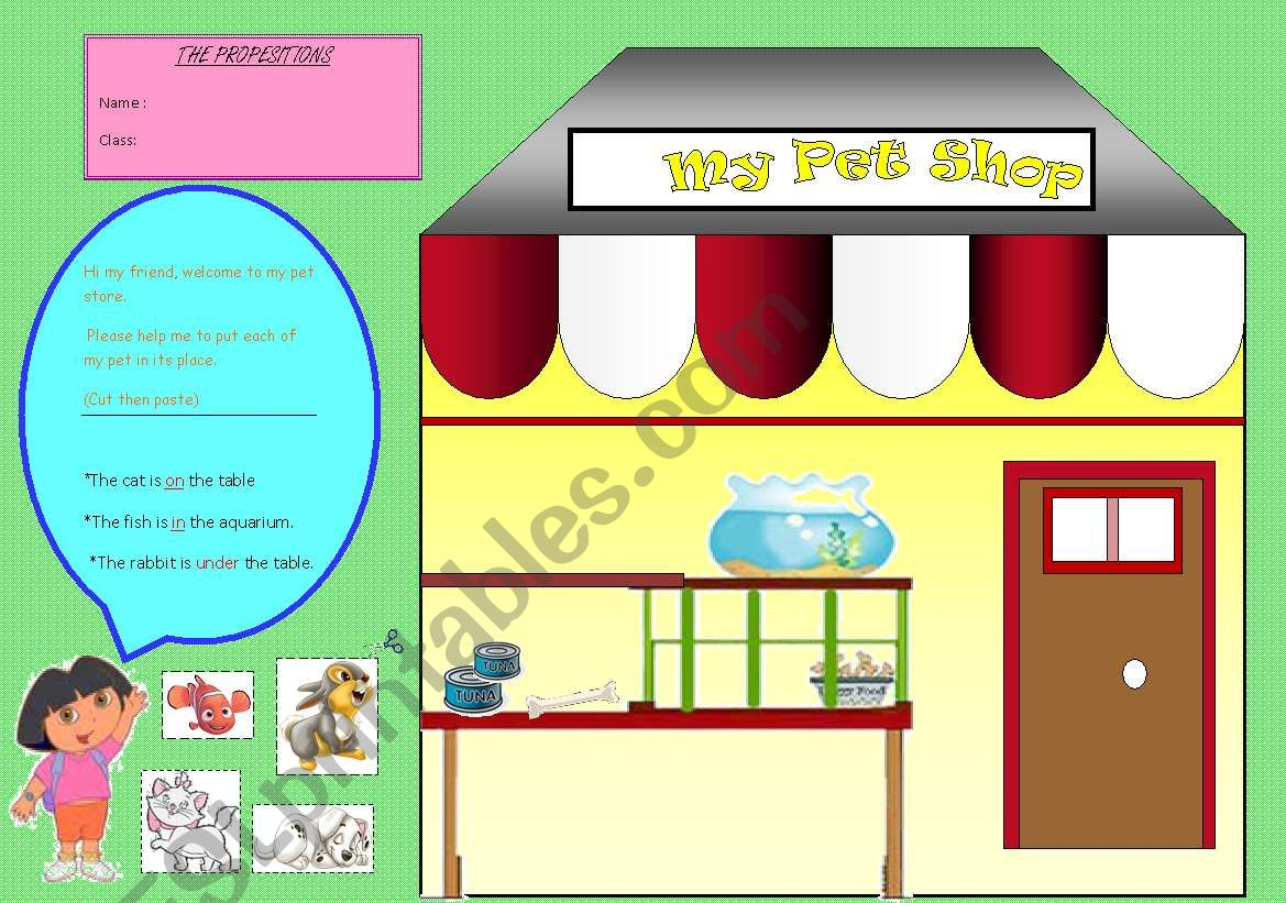 The Prepositions My Pet Stor