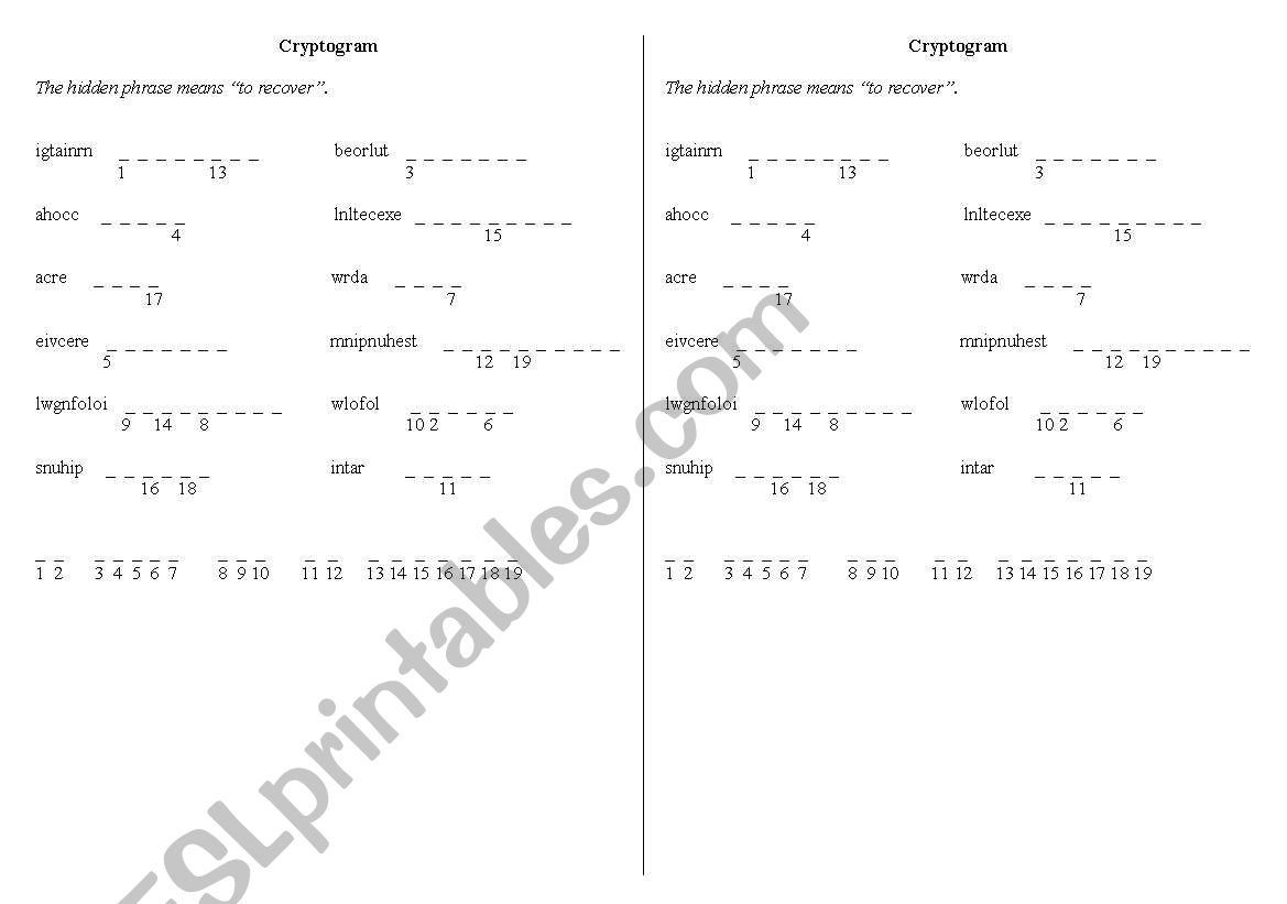 English Worksheets Cryptogram