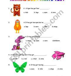 Animal Body Parts Test - ESL worksheet by mongo [ 1169 x 821 Pixel ]