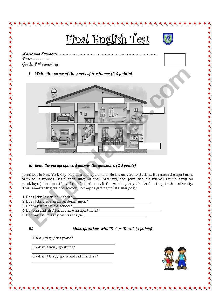 medium resolution of English test for 2nd grade secondary - ESL worksheet by Pamelix