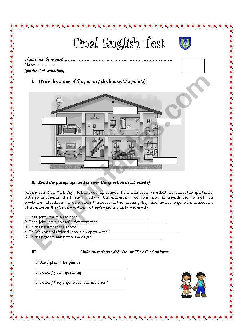 hight resolution of English test for 2nd grade secondary - ESL worksheet by Pamelix