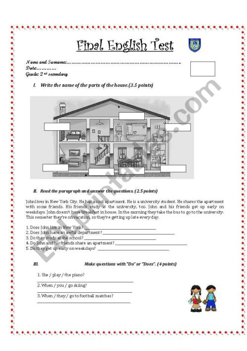 small resolution of English test for 2nd grade secondary - ESL worksheet by Pamelix